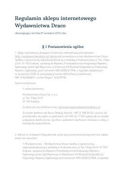 Regulamin sklepu internetowego Wydawnictwa Draco