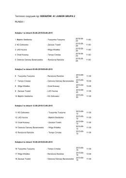 Terminarz rozgrywek ligi:RZESZÓW: A1 JUNIOR GRUPA 2
