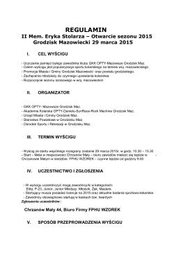 II Memoriał Eryka Stolarza - OTWARCIE SEZONU SZOSOWEGO