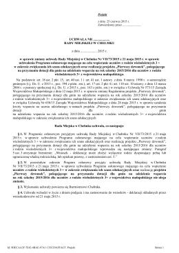 Projekt uchwały w sprawie zmiany uchwały RM w Chełmku nr VII/73