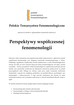 Perspektywy współczesnej fenomenologii