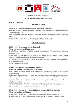 Program konferencji naukowej XII Dni Arabskie. Świat islamu coraz