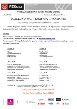 Komunikat WR nr 20/2015/2016 dot. organizacji turniejów