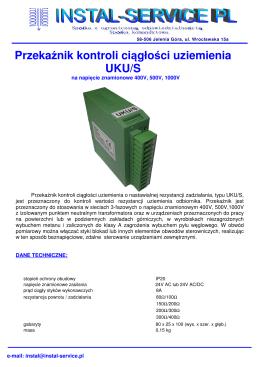 Przekaźnik kontroli ciągłości uziemienia UKU/S