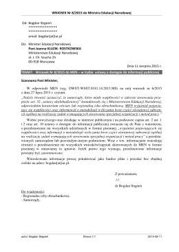 WNIOSEK Nr 8/2015 do Ministra Edukacji Narodowej Od
