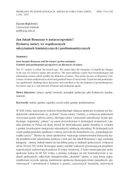 Lucyna Kopciewicz, Jan Jakub Rousseau w naturze/ogrodzie