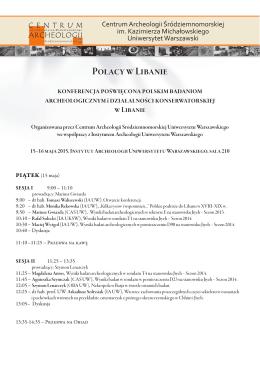 Konferencja - Instytut Archeologii Uniwersytetu Warszawskiego