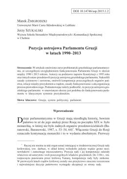 Pozycja ustrojowa Parlamentu Gruzji w latach 1990–2013