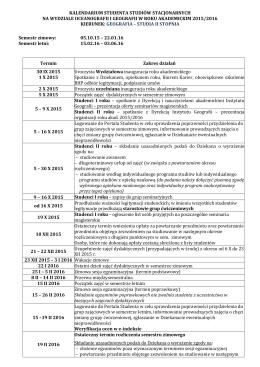 Kalendarium Geografia II st. - Wydział Oceanografii i Geografii