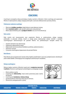 Informacja nt. oferty coachingu (PDF.) << KLIKNIJ