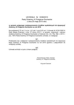 Uchwała nr IX/68/2015 z dnia 25 maja 2015 roku