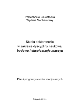 Plan i program studiów w dyscyplinie Budowa i Eksploatacja
