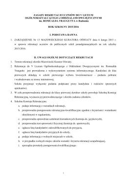 Zasady przyjmowania uczniów do klas pierwszych do V Liceum