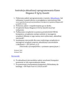 Instrukcja aktualizacji oprogramowania Kiano Elegance 8 3g by
