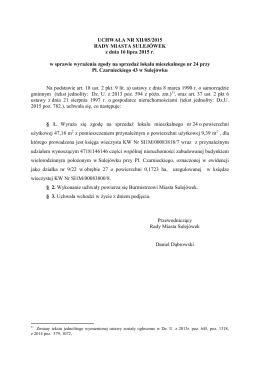 XII/85/2015 w sprawie wyrażenia zgody na sprzedaż lokalu