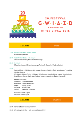 Program 20 Jubileuszowego Festiwalu Gwiazd 2015