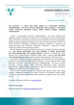Warszawa, dnia 6.05.2015 r. - II Warszawskie Seminarium