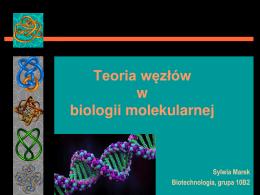 Sylwia Marek, zastosowanie teorii węzłów w biologii molekularnej