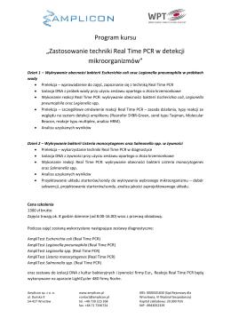 """Program kursu """"Zastosowanie techniki Real Time PCR w"""