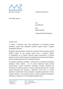Warszawa, 24-02-2015 r. BP-P.0620.166.2015. Pani Anna Bartnicka