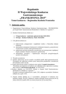Regulamin II Wojewódzkiego Konkursu Gastronomicznego