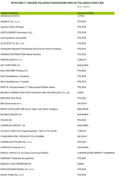 Lista wystawców POLAGRA FOOD 2015