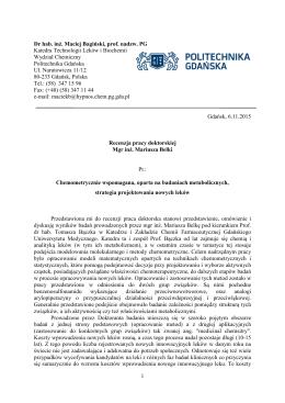 Recenzja pracy doktorskiej (dr hab. M. Bagiński, prof. nadzw.)