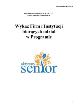 Wykaz Firm i Instytucji biorących udział w Programie