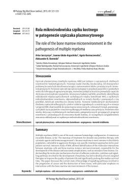 Rola mikrośrodowiska szpiku kostnego w patogenezie szpiczaka