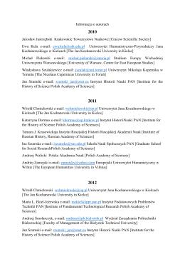 Informacja o autorach - Instytut Historii Nauki PAN
