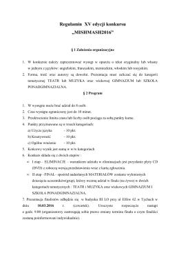 """Regulamin XV edycji konkursu """"MISHMASH2016"""""""