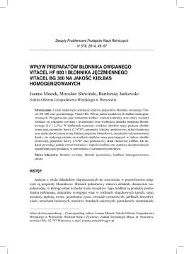 wpływ preparatów błonnika owsianego vitacel hf 600 i błonnika