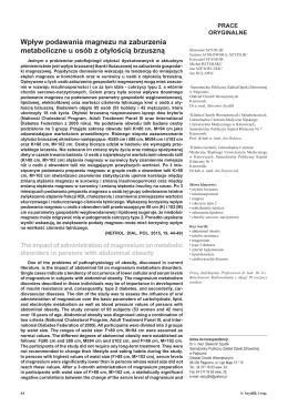 Wpływ podawania magnezu na zaburzenia metaboliczne u osób z