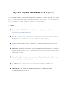 Regulamin Programu Partnerskiego Stałe Przychody