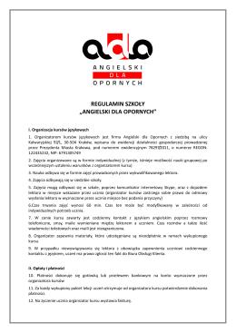 Regulamin - ADO - Angielski dla Opornych