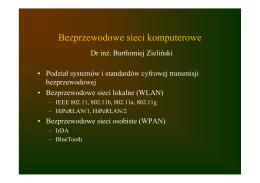 klasyfikacja, sieci lokalne (IEEE 802.11, HiPeRLAN), sieci osobiste