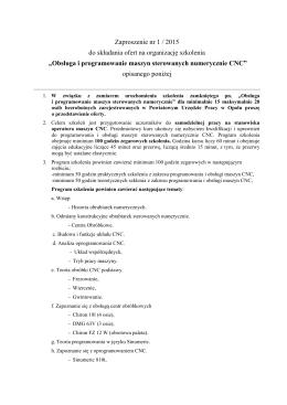 Obsługa i programowanie maszyn sterowanych numerycznie CNC