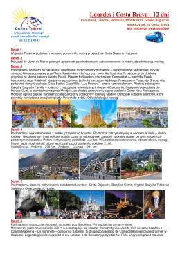 Lourdes i Costa Brava - 12 dni - Online