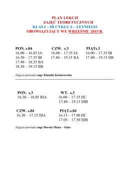 podział na klasy i plan lekcji obowiązujący we wrześniu