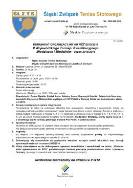 II WTK - Śląski Związek Tenisa Stołowego