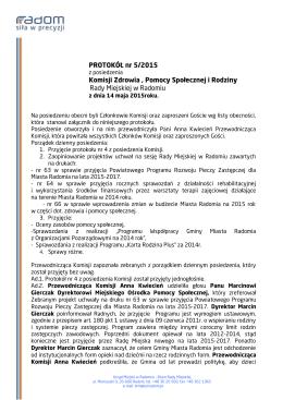 PROTOKÓŁ nr 5/2015 Komisji Zdrowia , Pomocy Społecznej i