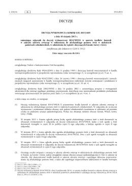 DECYZJA WYKONAWCZA KOMISJI (UE) 2015/ 1405