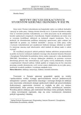 """""""Motywy decyzji edukacyjnych studentów oraz ich struktura"""
