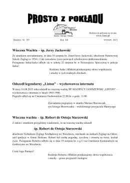 """Wieczna Wachta – śp. Jerzy Jackowski Odszedł legendarny """"Liston"""
