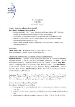 IV Forum Gospodarcze Europa-Chiny