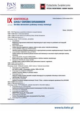 Plan konferencji - Witamy na stronie IX Konferencji SZKOŁY
