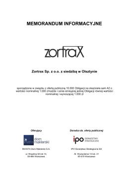 Memorandum Informacyjne Zortrax Sp. z oo