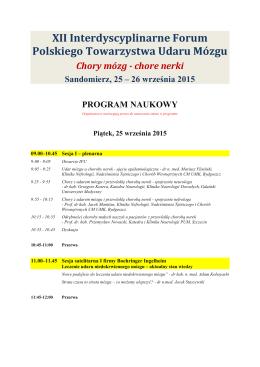 XII Interdyscyplinarne Forum Polskiego Towarzystwa Udaru Mózgu