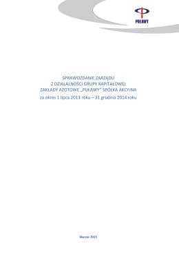 Sprawozdanie Zarządu z działalności Grupy