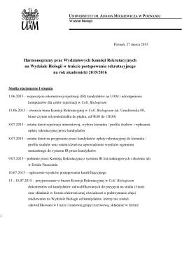 Rekrutacja WB UAM harmonogram 2015